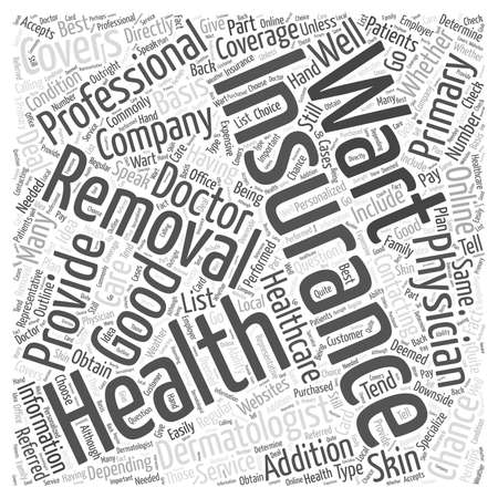 Professional Wart Removal Often Covered by Insurance word cloud concept 向量圖像