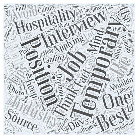 Tips over Landing Tijdelijke Hospitality Jobs woord wolk concept