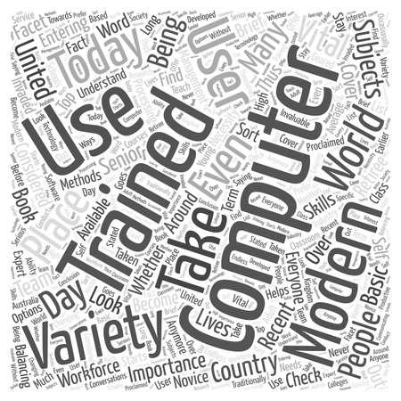 Computer Training word cloud concept Illustration