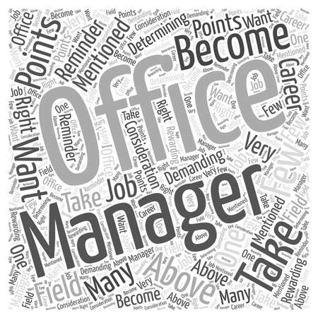 Do You Have What It Takes to Become an Office Manager word cloud concept Ilustração