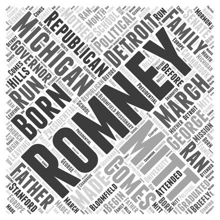 mormon: Mitt Romney Republican word cloud concept