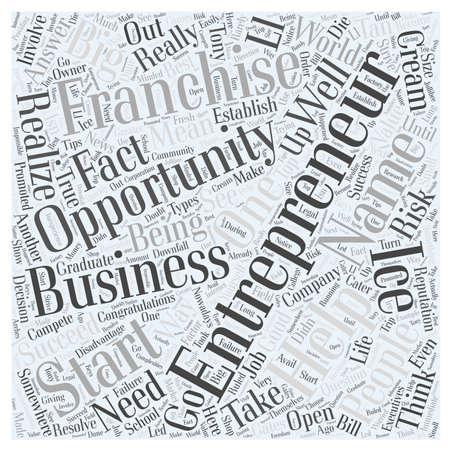opportunity concept: entrepreneur franchise opportunity word cloud concept