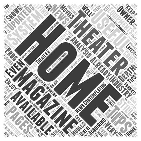 home theater magazine word cloud concept