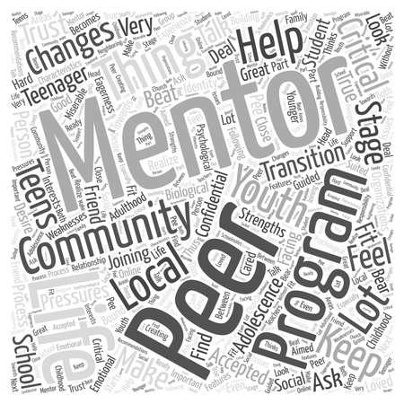 peer to peer: pares palabra nube concepto de tutoría