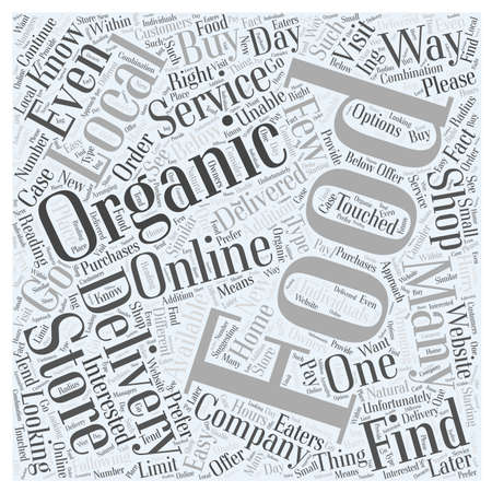 How to Find an Organic Food Delivery Company word cloud concept Иллюстрация