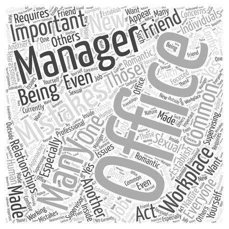 mistakes: Common Office Management Mistakes word cloud concept Illustration