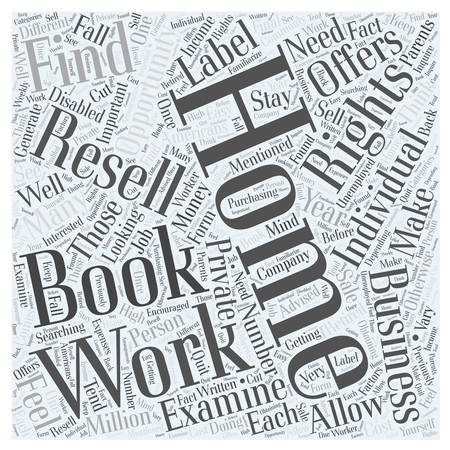 resell: Looking to Work from Home Make Money with Private Label Ebook Resell Rights word cloud concept Illustration