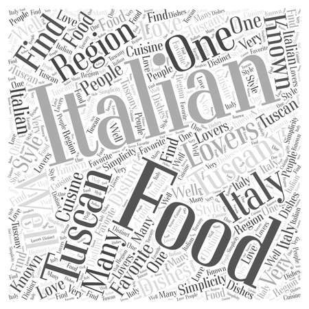 Tuscan Italian Food word cloud concept