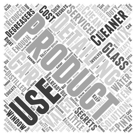 valeting: Car Valeting and the Secrets to Detailing Products word cloud concept Illustration