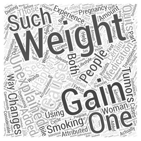 tumors: unexplained weight gain word cloud concept Illustration