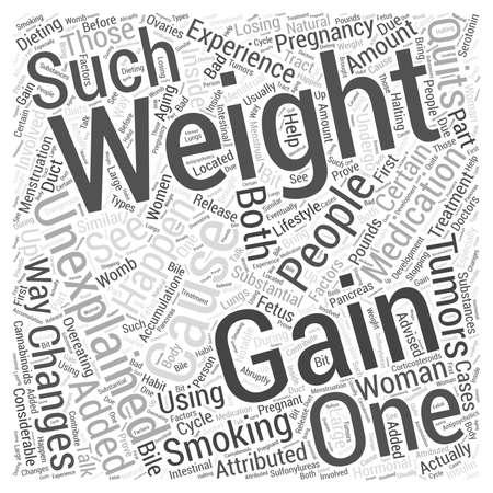 unexplained: unexplained weight gain word cloud concept Illustration