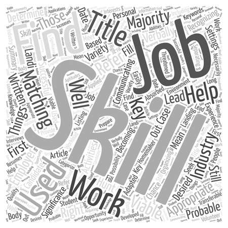 Matching Your Skills To Find Appropriate Jobs word cloud concept Banco de Imagens - 67230747
