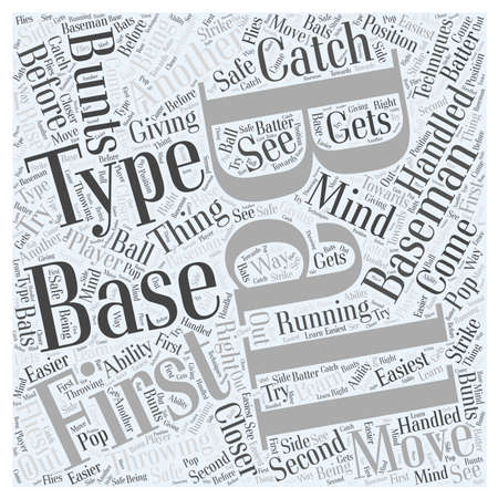 Techniques for the First Baseman word cloud concept Illustration