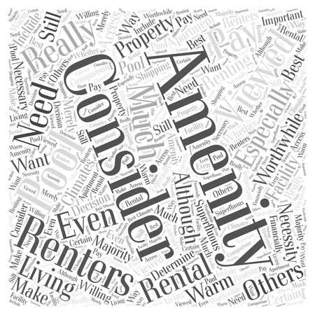 amenities: Consider The Amenities word cloud concept
