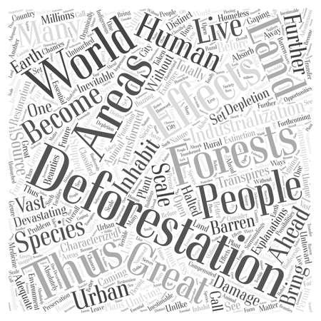 Devastating Effects Of Deforestation word cloud concept Vectores