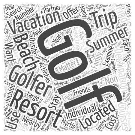 Destinos de vacaciones de verano populares para los golfistas palabra concepto de la nube Foto de archivo - 67299807