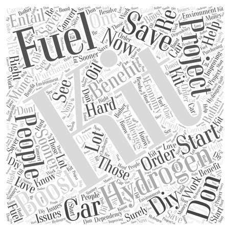 Hydrogen Fuel Boost Kit Fuel Saver woord wolk concept Stock Illustratie