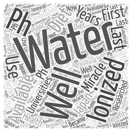 water s: pH miracle diet and water ionizers word cloud concept