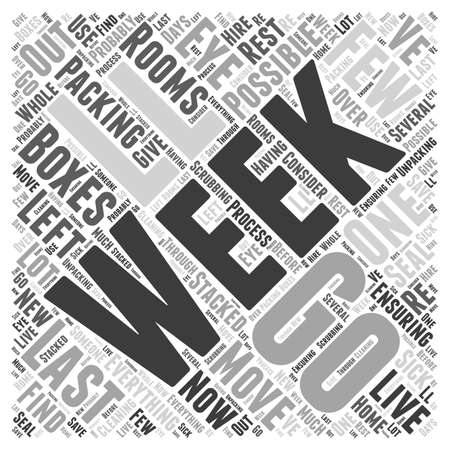unpacking: One week to go word cloud concept Illustration