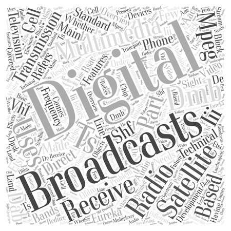 broadcasting: The development of digital multimedia broadcasting word cloud concept Illustration