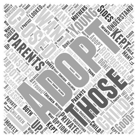 Closed Adoption word cloud concept Ilustracja