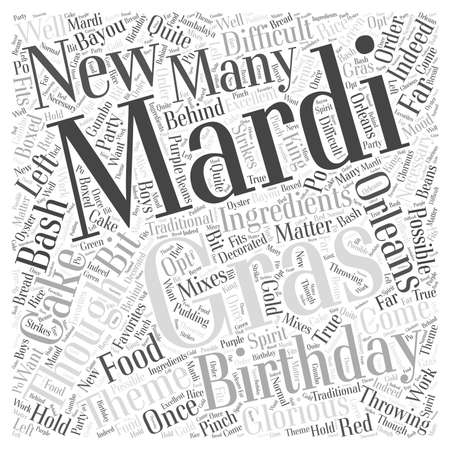 rather: Throwing a Mardi Gras Birthday Bash word cloud concept