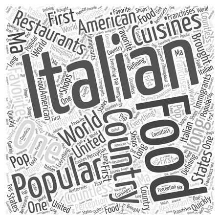 Popular Italian Food Restaurants word cloud concept