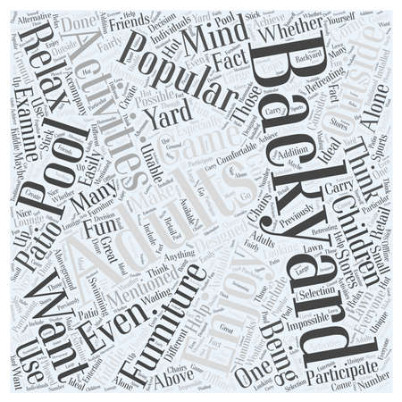 popular: Popular Backyard Activities for Adults word cloud concept