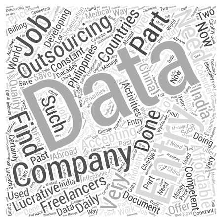 Saisie de données mot de l'externalisation cloud notion Banque d'images - 67299943