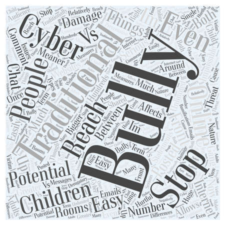 traditinal: Cyber Bullying VS Traditinal Bullying word cloud concept