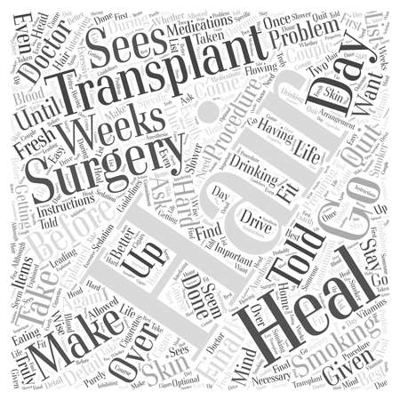 Preparing for Hair Transplant Surgery word cloud concept Çizim