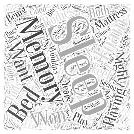 メモリ泡のマットレスの単語の雲の概念と良い睡眠を持つ