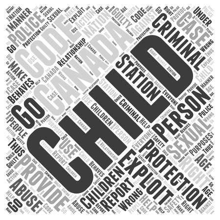 criminal code of canada child protection word cloud concept