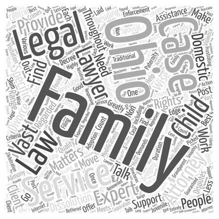 Servizi di avvocato della famiglia Ohio Parlare con gli esperti sul diritto della famiglia concetto di word cloud