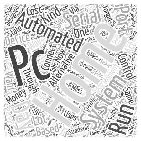 pc serial port home automation word cloud concept Ilustrace