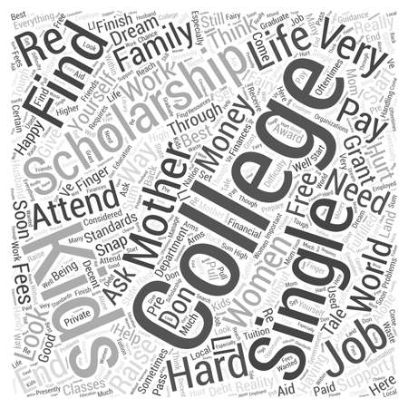college mother scholarship single word cloud concept
