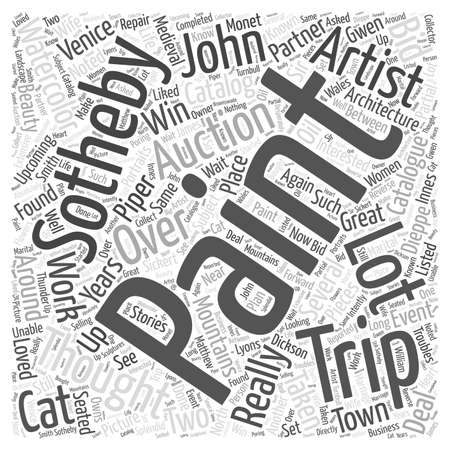 upcoming trip to sothebys word cloud concept Ilustrace