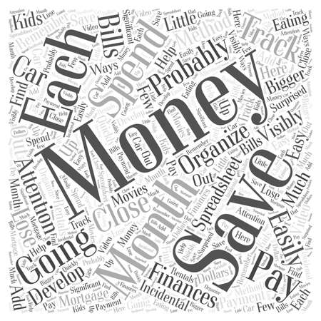 Organize your Finances and Save Your Money word cloud concept Stock Illustratie
