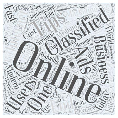 온라인 분류 광고 그리고 그것의 장점 단어 구름 개념 일러스트