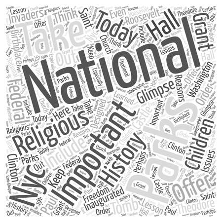glimpse: NYC National Parks Offer Glimpse of History word cloud concept Illustration