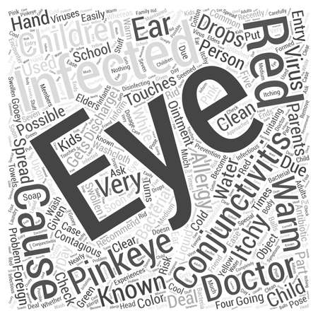 contagious: Conjunctivitis or Pinkeye in Children word cloud concept Illustration
