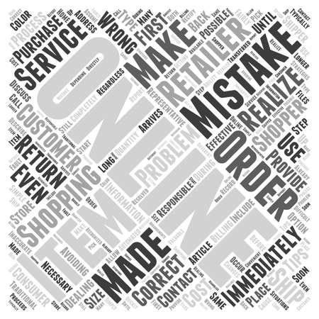 Correcting Mistakes When Online Shopping word cloud concept Ilustração