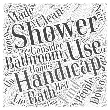 Handicap Showers and Bathroom Accessories word cloud concept