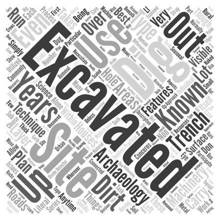 Excavation word cloud concept