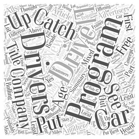 advertisers: Driving New Cars For Free Is There A Catch word cloud concept