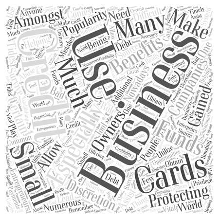 Protecting Your Funds While Using Business Credit Cards word cloud concept Ilustrace