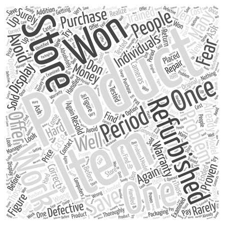 Bespaar geld wanneer u Refirbished Products word cloud-concept koopt Stock Illustratie