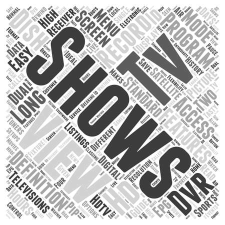 dish network satellite receiver word cloud concept