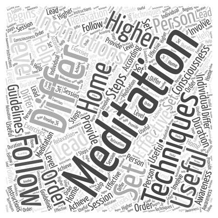 meditation instructions word cloud concept