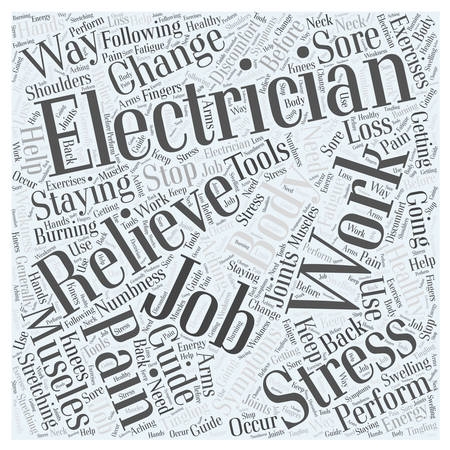 Electricians Guide For Staying Healthy On The Job word cloud concept Ilustrace
